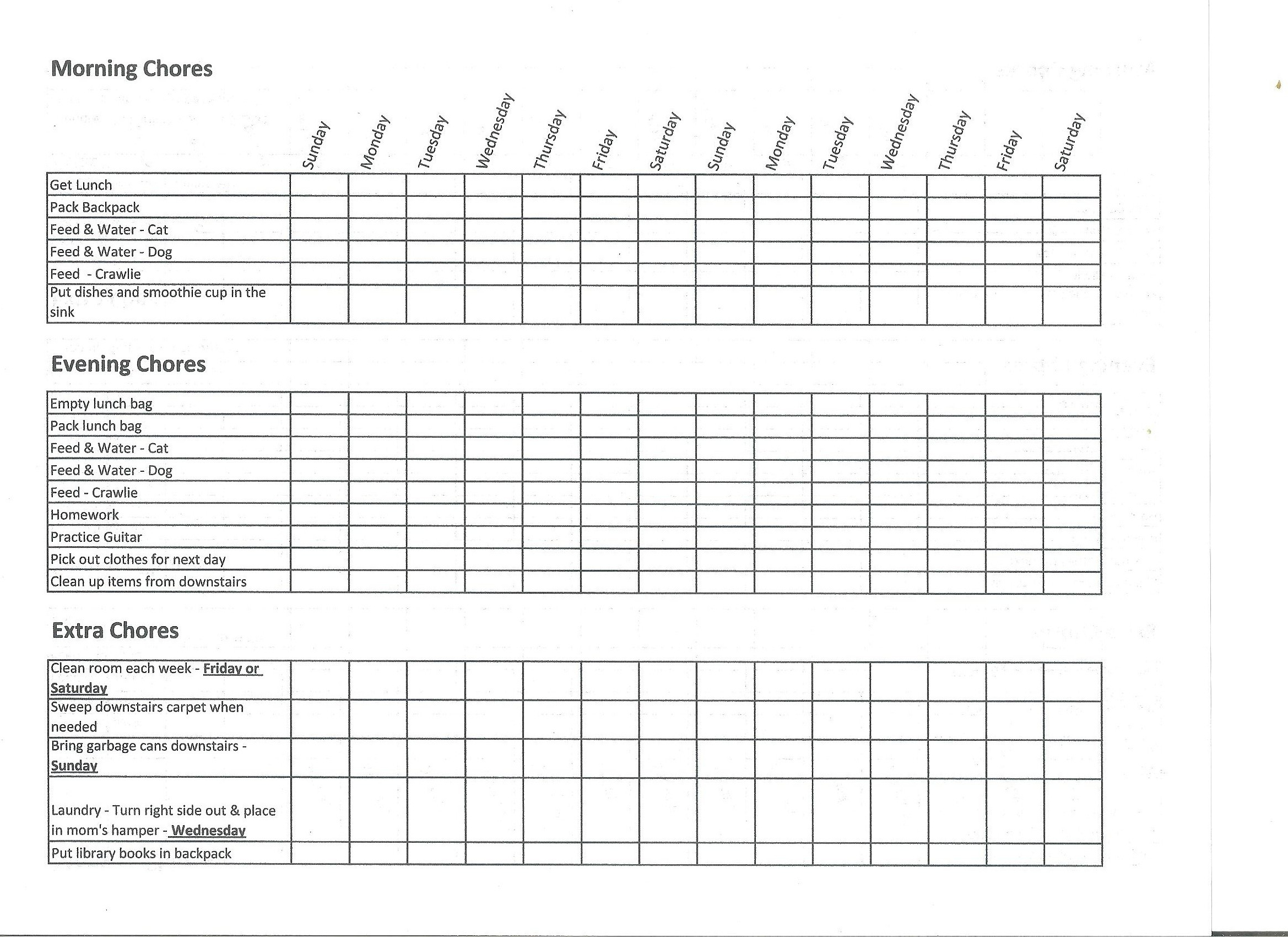 Easy to use chore chart and allowance set up simply rurban for Allowance chart template