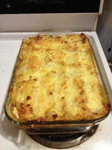 Egg lasagna out of oven
