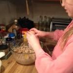 Choc chip bars adding eggs