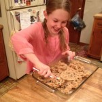 Choc chip bars putting in the pan