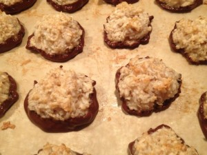 Choc macaroons all dipped