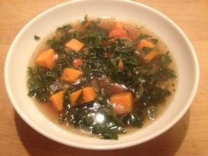 Kale soup served