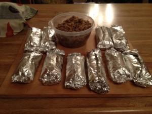 Food challenge dinner 1 burritos wrapped